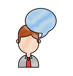 Businessman with speech bubble avatar character vector