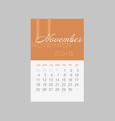 Calendar 2018 months november week starts sunday vector