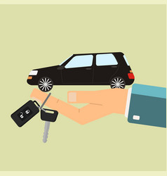 car rental or sale concept hand hold car and car vector image