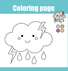 coloring page with cute cloud character vector image