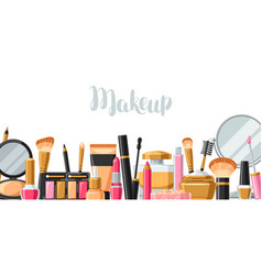 Cosmetics for skincare and makeup banner for vector