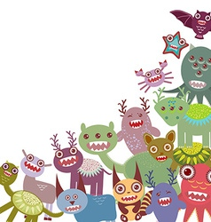 Funny monsters big collection on white background vector