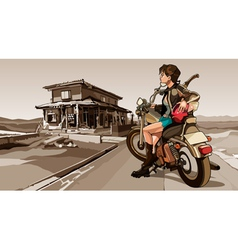 Girl with a motorcycle on the ruined building vector