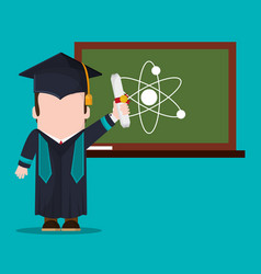 graduate student with diploma and chalkboard vector image vector image
