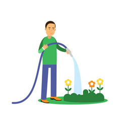 happy man cartoon character watering flowers from vector image