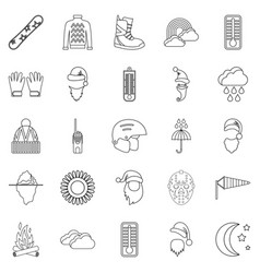 Hockey stuff icons set outline style vector