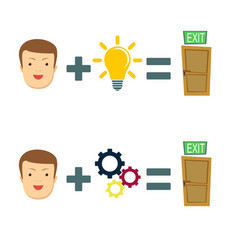 human plus idea equal to solving the problem vector image vector image