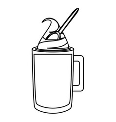 Ice coffee and spoon vector