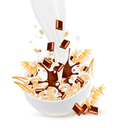 milk flowing into a bowl with grain and chocolate vector image vector image