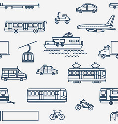 monochrome seamless pattern with transport of vector image vector image