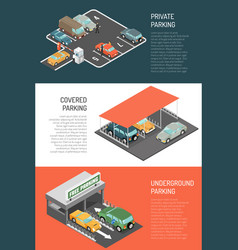 parking isometric banners set vector image vector image