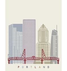 Portland skyline poster vector