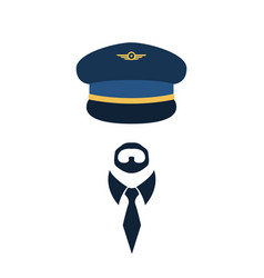 Portrait of pilot in a cap vector