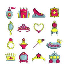 Princess doll icons set cartoon style vector