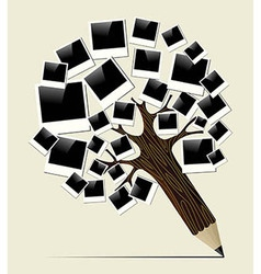 Retro instant photo concept pencil tree vector