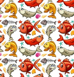 Seamless background design with fish vector