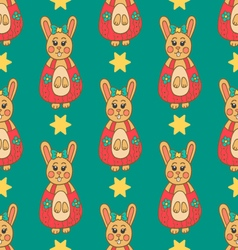 Seamless pattern with Easter bunny-5 vector image vector image