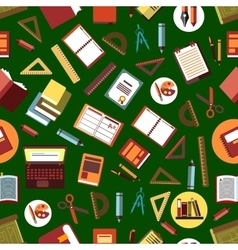Seamless school supplies flat pattern background vector image vector image