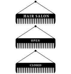 set of hair salon combs open and closed vector image vector image