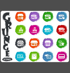 Shop icons set in grunge style vector