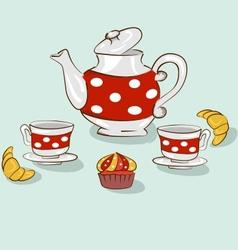 Tea sweet set vector