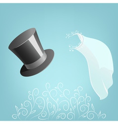top hat and wedding veil with floral ornament vector image vector image
