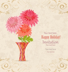 vintage invitation card with lovely flowers in vector image vector image