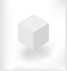 white isometric cube with shadow vector image vector image