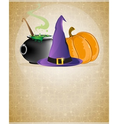 Witch hat boiling cauldron and pumpkin vector image