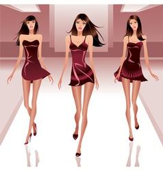Fashion models on catwalk vector image