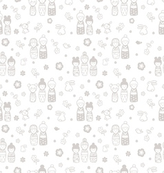 seamless pattern with dolls kokeshi vector image