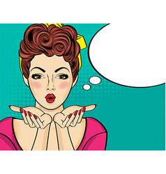 Surprised pop art woman comic woman with speech vector