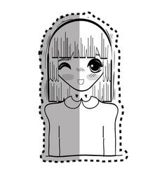Sticker anime cute beautiful woman vector