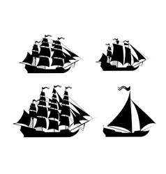 Ships set with separate editable elements vector