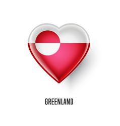 Patriotic heart symbol with greenland flag vector