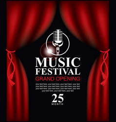 Poster for music festival with microphone vector
