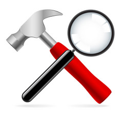 hammer and magnifying glass on white background vector image