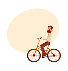 Bearded man in vest and bow tie riding bicycle vector