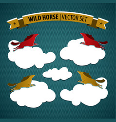 Wild horse icon set vector