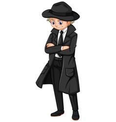Male detective in black overcoat vector