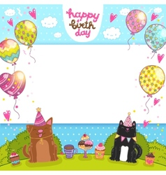 Happy Birthday background with cat dog and cupcake vector image