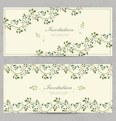 Vintage floral invitation cards for your design vector