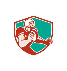 American football player angry shield retro vector