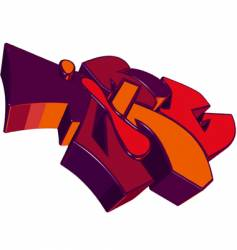 Funky 3d graffiti vector