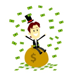 A Rich Man Sitting On and Make It Rain His Money vector image vector image