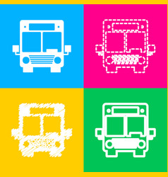 bus sign four styles of icon on four vector image