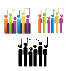 Choir of notes and piano keys vector