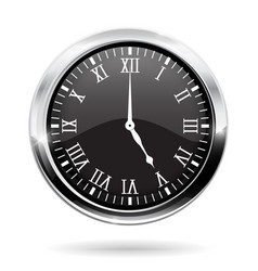 Clock black round clock with roman numerals vector