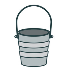 Colorful silhouette metallic bucket container with vector