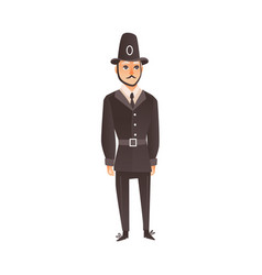 flat english policeman in classic uniform vector image